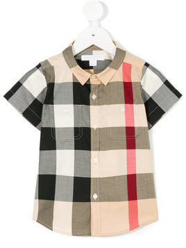Burberry Kids - short-sleeved check shirt - Kinder - Cotton - 18 mth - Nude & Neutrals