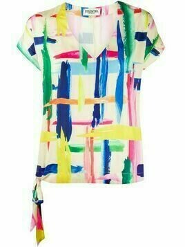 Essentiel Antwerp Veda brush stroke print top - PINK