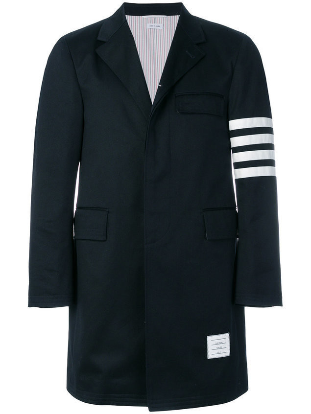 Thom Browne Unconstructed 4-Bar Stripe Classic Chesterfield Overcoat - Blue