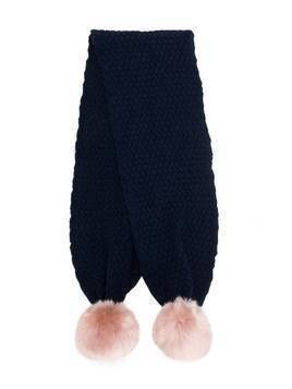 Hucklebones London chunky pompom scarf - Blue