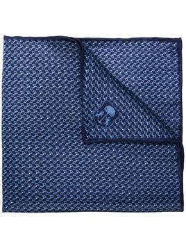 Corneliani embroidered logo square scarf - Blue