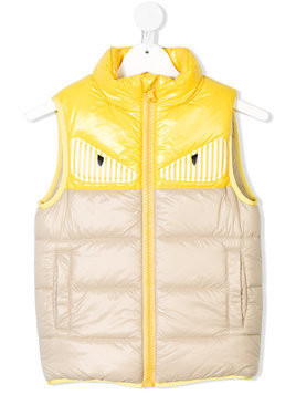 Fendi Kids monster eye gilet - Nude & Neutrals