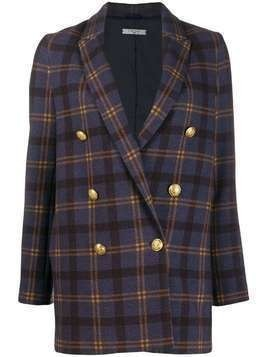 Circolo 1901 double-breasted check jacket - Blue