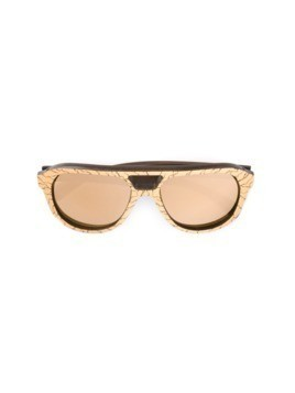 Gold And Wood 'Copa' mirrored sunglasses - Metallic