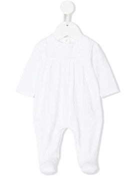Knot embroidered babygrow - White