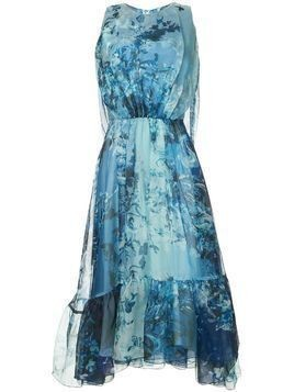 Isabel Sanchis baroque floral printed dress with cape back - Blue