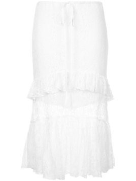 Suboo Sweet Thing frilled lace midi skirt - White