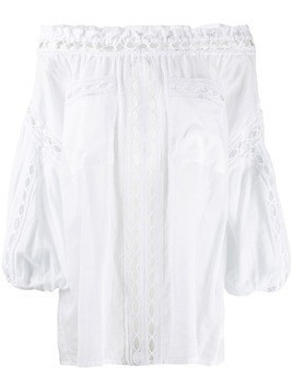 Charo Ruiz off-shoulder embroidered blouse - White