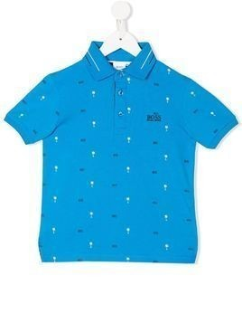 Boss Kids palm tree print polo shirtem - Blue