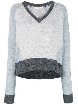 Derek Lam 10 Crosby Colorblock Marled Cotton V-Neck Sweater - Blue