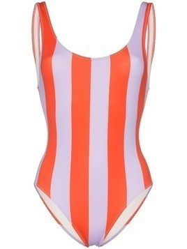 Solid & Striped round neck wide striped swimsuit - Purple