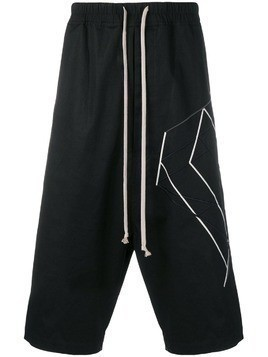 Rick Owens geometric shape long shorts - Black
