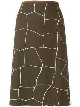Miu Miu Pre-Owned giraffe print straight skirt - Brown