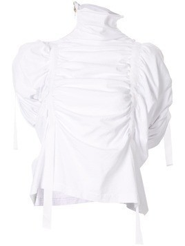 Aganovich high neck gathered top - White
