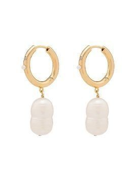 Anni Lu dropped pearl hoop earrings - White