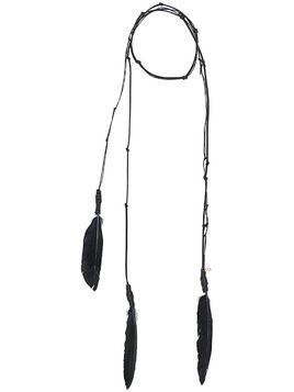 Ann Demeulemeester wrap-around feather detail necklace - Black