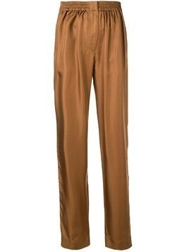Cédric Charlier tailored silk pants - Brown