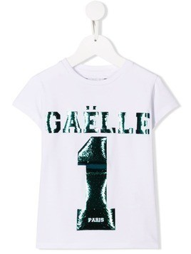 Gaelle Paris Kids metallic logo T-shirt - White