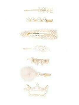 Monnalisa pearl-embellished hair clip set - Neutrals