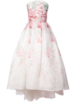 Monique Lhuillier flared strapless floral print dress - White