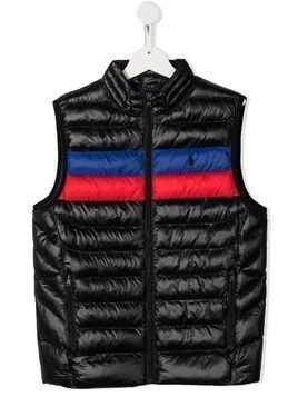 Ralph Lauren Kids colour-block stripe quilted gilet - Black