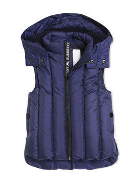Burberry Kids Detachable Hood Down-filled Gilet - Blue