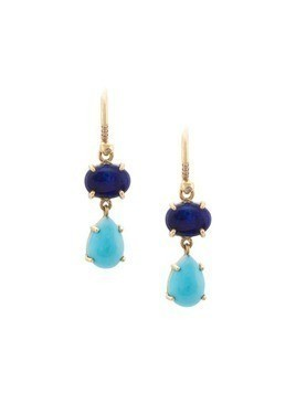 Irene Neuwirth 18kt yellow gold Blue Opal And Turquoise Teardrop drop earrings