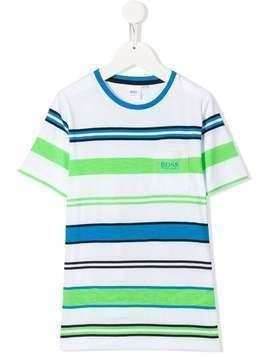 Boss Kids logo printed striped T-shirt - White