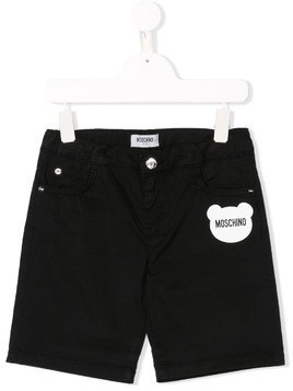 Moschino Kids bear logo shorts - Black
