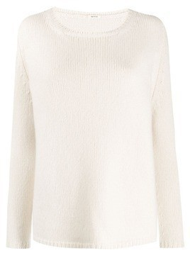 Apuntob round neck plain jumper - White