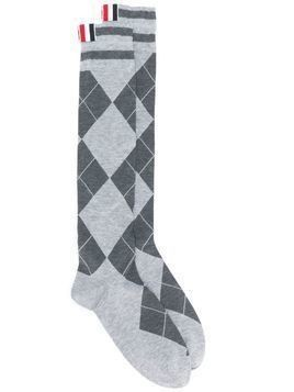 Thom Browne argyle-pattern socks - Grey