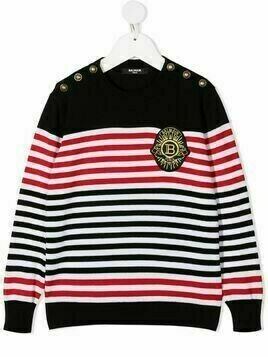 Balmain Kids striped knitted jumper - Black