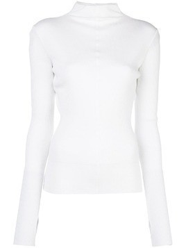 Helmut Lang turtleneck ribbed jumper - White