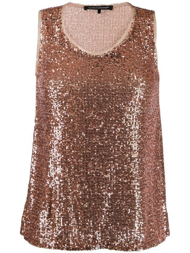 Luisa Cerano sequin embroidered top - PINK