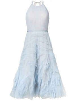 Marchesa Notte textured tulle midi tea dress - Blue