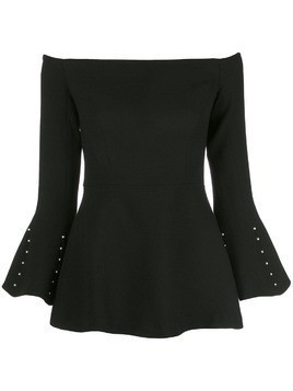 Lela Rose bardot flared top - Black