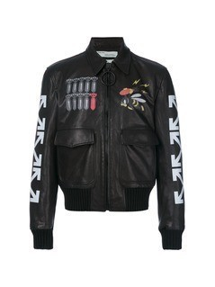 Off-White printed bomber jacket - Black