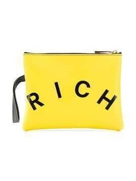 John Richmond Junior logo printed clutch bag - Yellow
