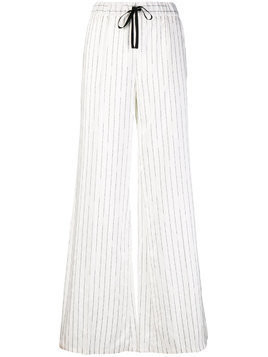 Unravel Project logo stripe palazzo trousers - White