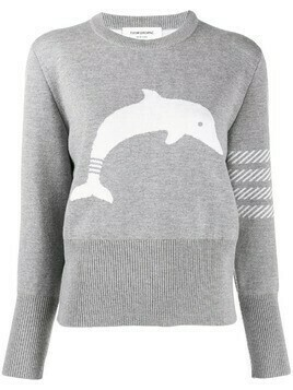 Thom Browne 4-bar dolphin motif jumper - Grey