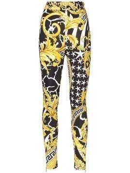 Versace Baroque-print skinny trousers - Black
