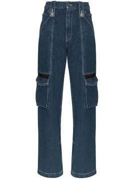 House of Holland mid-rise cargo pocket straight-leg jeans - Blue