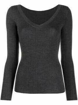 P.A.R.O.S.H. V-neck ribbed knitted top - Grey