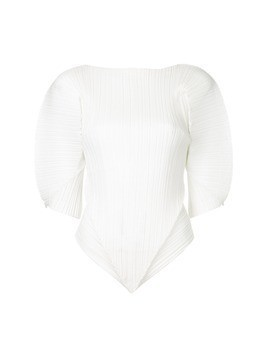 Issey Miyake Vintage pleated structured blouse - White