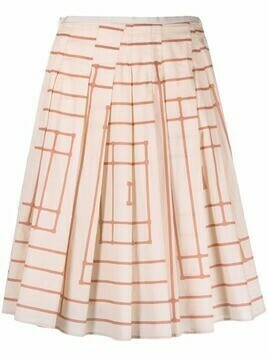 Alysi striped-panel pleated skirt - Neutrals