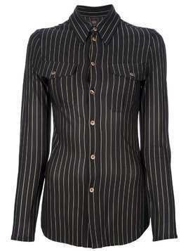 Jean Paul Gaultier Pre-Owned fitted striped shirt - Black