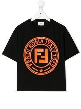 Fendi Kids TEEN logo print T-shirt - Black