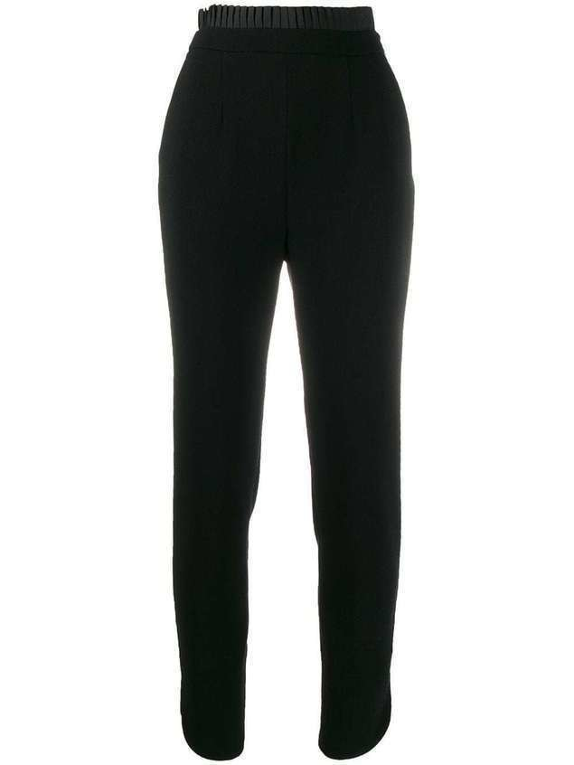 Just Cavalli satin pleat trim suit trousers - Black