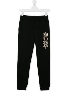 Boss Kids TEEN logo print track pants - Black