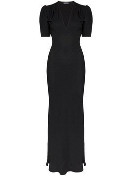 Rockins puff-sleeve maxi dress - Black